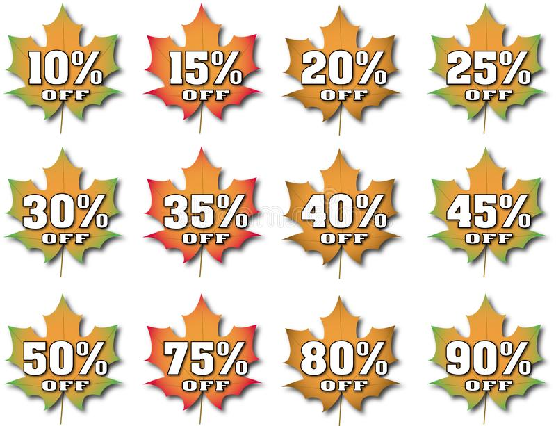 Fall Leaves With Percentages Off. Fall leaves with various percentages off, representing discounts or savings vector illustration