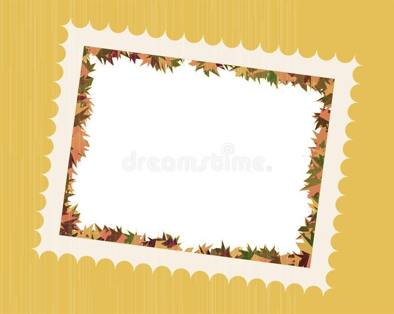 Fall Leaves Photo Frame. Fall Leaves Family Photo Frame in illustrated artwork design stock illustration