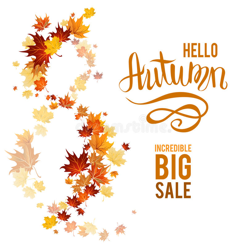 Fall leaves poster sale. Fall sale. Autumn leaves design elements. Maple fall leaves on poster royalty free illustration