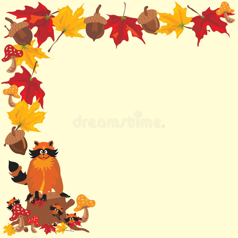 Fall Leaves Raccoon Boarder. Fall Raccoon Boarder with Fall Leaves, acorns and toadstools with Mommy Raccoon and babies. Great for a fall baby shower invitation vector illustration