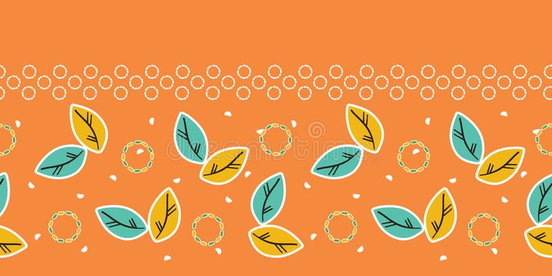 Fall leaves seamless border pattern. Stylized retro floral stems edging. Pretty modern feminine fashion band. Trendy. Leaves seamless border pattern. Stylized royalty free illustration