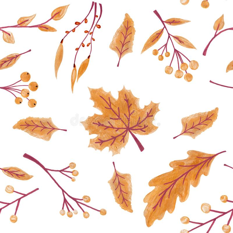 Fall leaves seamless pattern with gold glitter texture. illustration for stylish background, banner, textile, wrapping. Paper design. orange, yellow, golden stock photography
