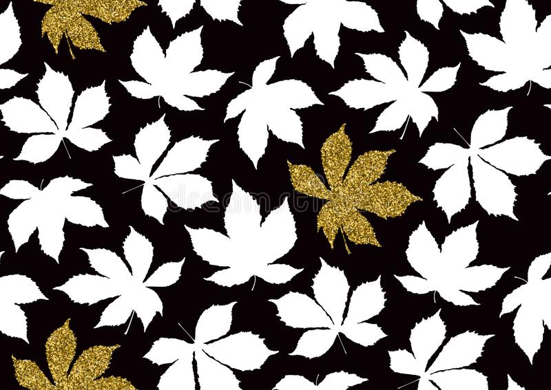 Fall leaves seamless pattern with gold glitter texture. Vector illustration for stylish background, textile, wrapping paper design. Fall leaves seamless pattern stock illustration