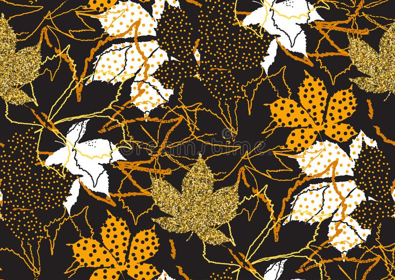 Fall leaves seamless pattern with gold glitter texture. Vector illustration for stylish background, textile, wrapping paper design. Fall leaves seamless pattern royalty free illustration