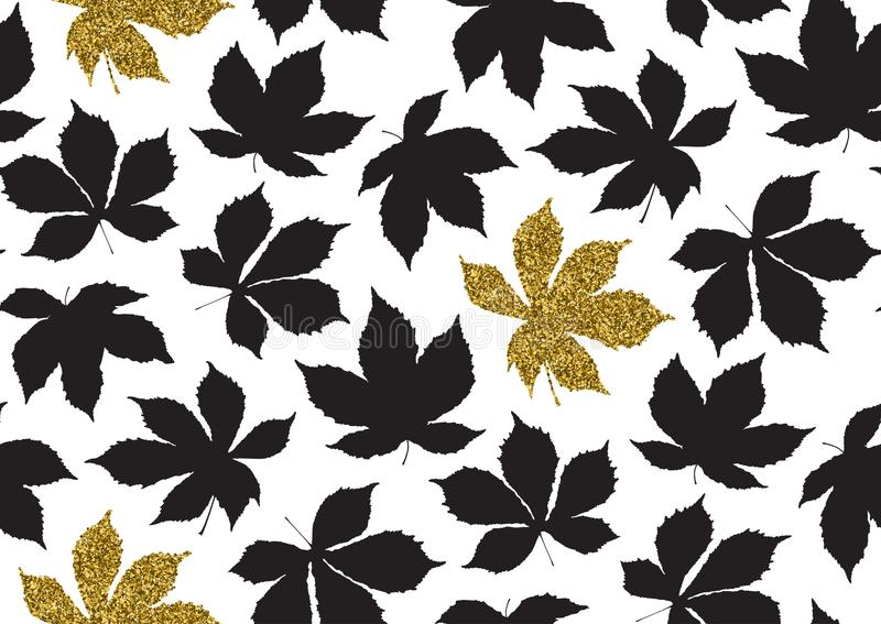 Fall leaves seamless pattern with gold glitter texture. Vector illustration for stylish background, textile, wrapping paper design. Fall leaves seamless pattern vector illustration
