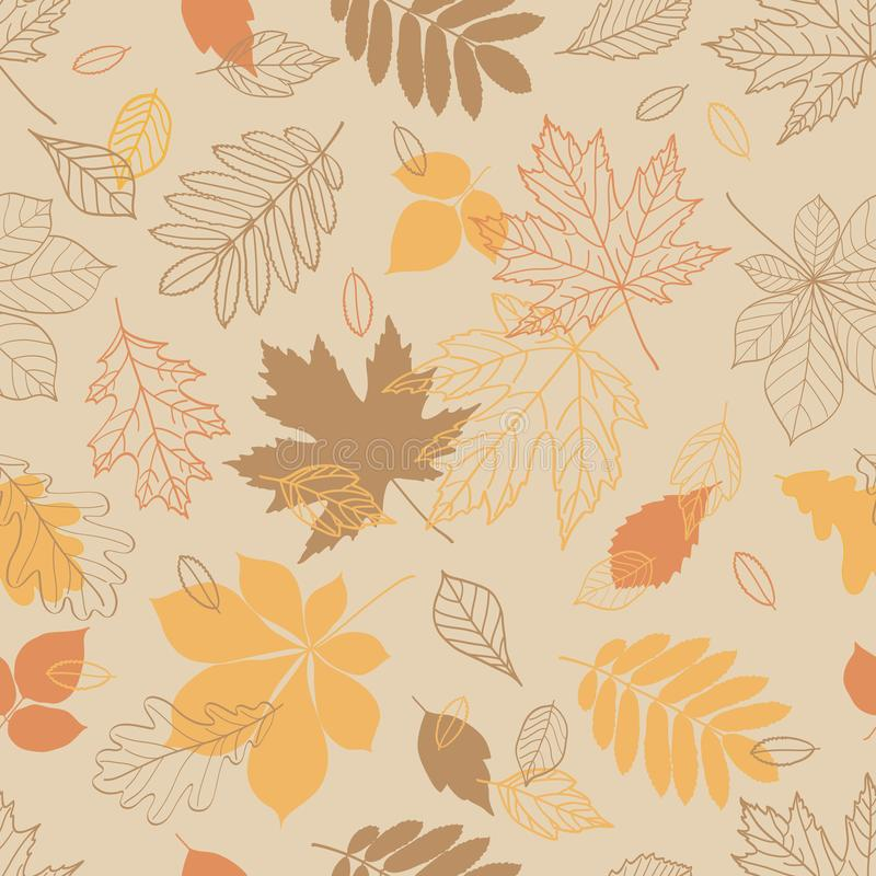 Fall of the leaves. Seamless pattern with hand drawn leaves for textile, wallpapers, gift wrap and scrapbook. Vector illustration royalty free illustration