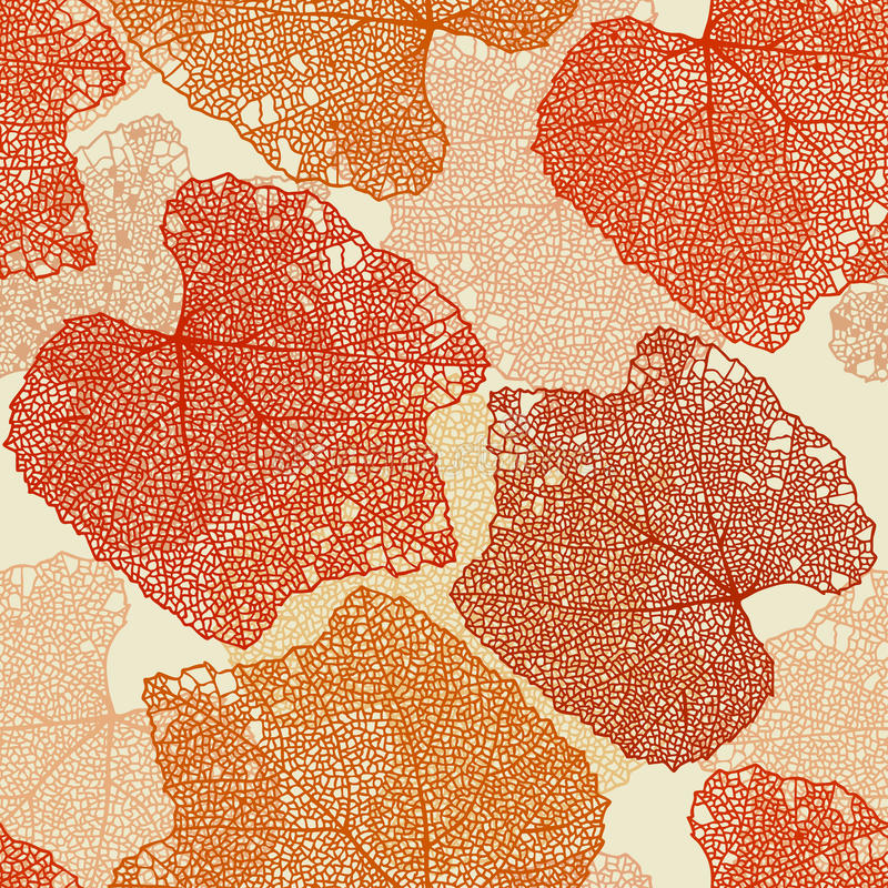 Fall leaves seamless pattern. Orange and red fall leaves seamless pattern vector illustration