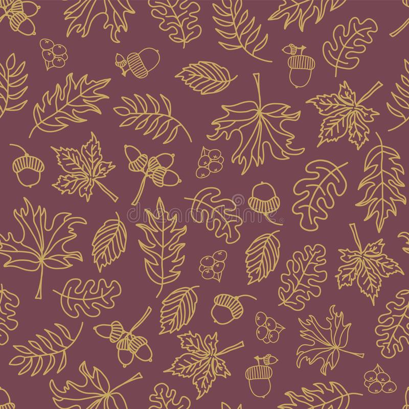 Fall leaves seamless vector background. Beige green leaves on a purple background. Acorns, oak tree, maple tree pattern. Doodle stock illustration