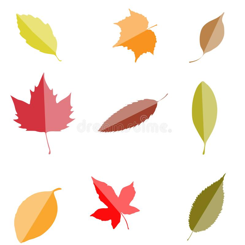 Fall leaves set, isolated on white background. autumn simple car. Toon flat style, vector illustration. web icon vector illustration