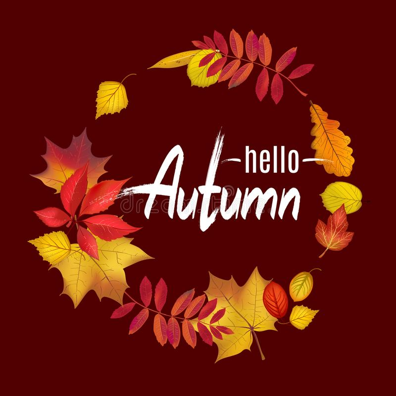Fall leaves wreath on dark brown background. For your autumn design. Hello Autumn lettering template. Vector illustration vector illustration