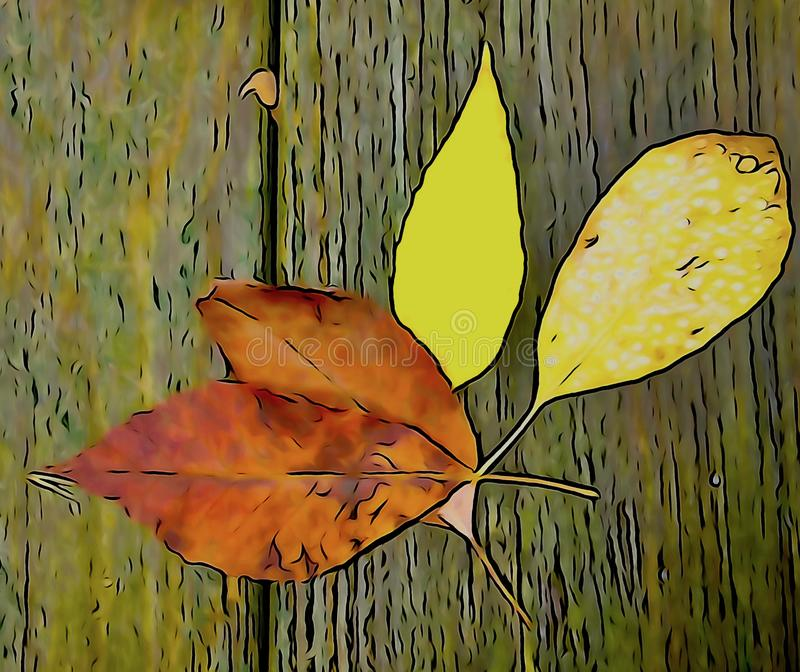 Fall leaves yellow and reddish brown against a brown textured background stock images