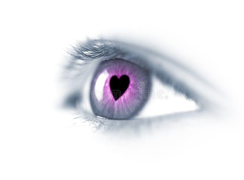 Fall in Liebe/in junges schönes Auge stockfotografie