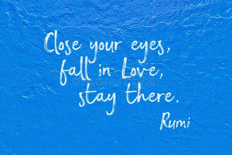 Fall in love blue Rumi stock photo