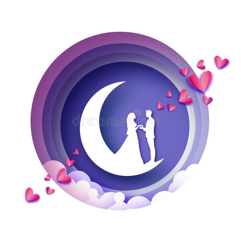 Fall in Love. Crescent Moon. White Romantic lovers. Pink Hearts paper cut style. Happy Valentine day. Romantic Holidays vector illustration
