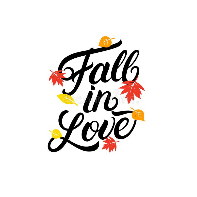 Download Fall In Love Hand Written Lettering Quote. Stock Vector    Illustration Of Heart,