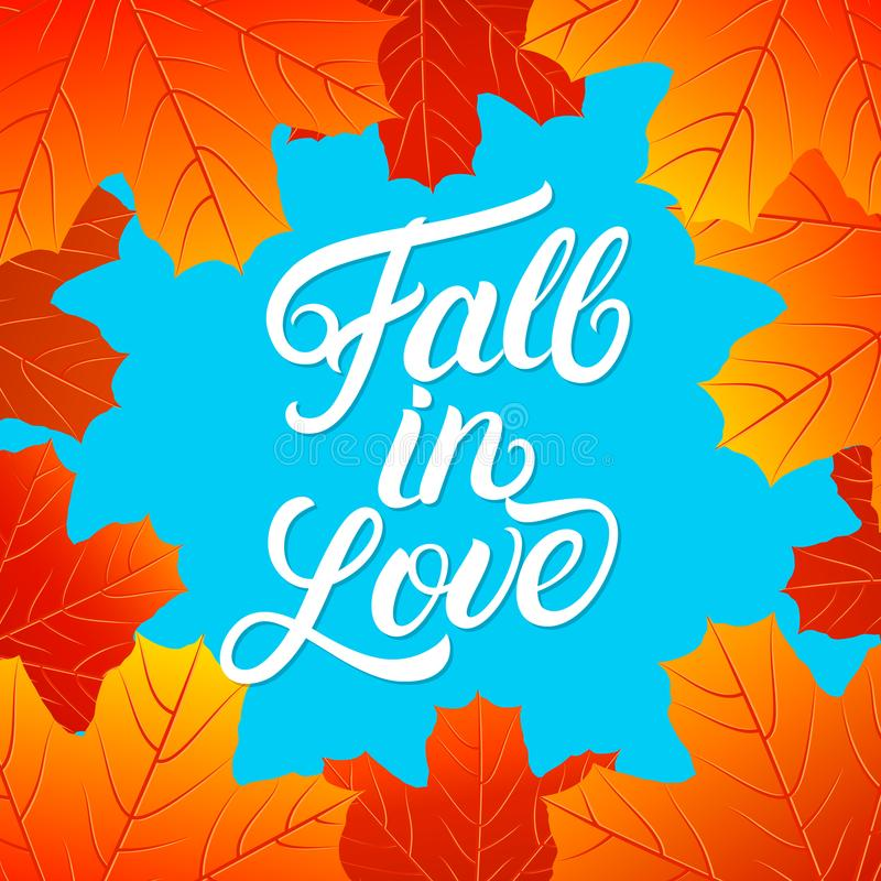 Lovely Download Fall In Love Hand Written Lettering Quote. Stock Vector    Illustration Of Herbal,