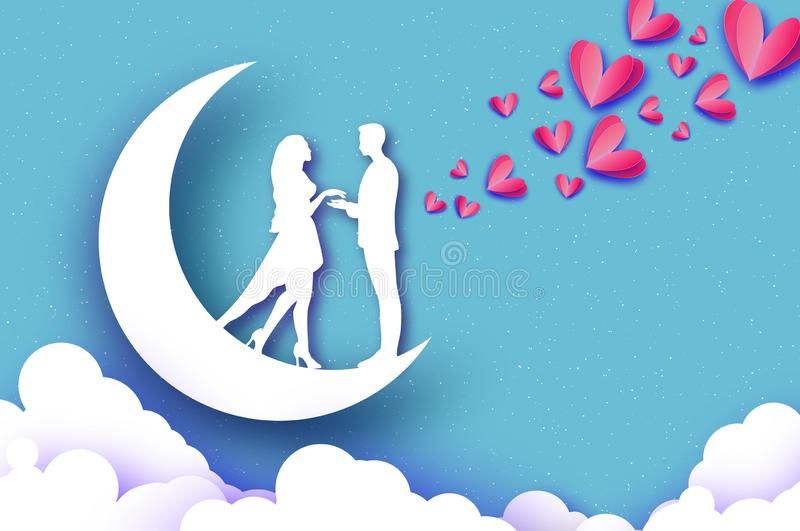 Fall in Love. Moon. White Romantic lovers. Pink Paper Hearts. paper cut style. Happy Valentine day. Romantic Holidays stock illustration