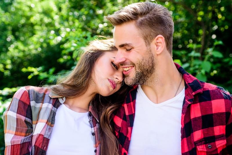Fall in love. Pure feelings. Romantic date concept. Beautiful people. Happy together. Couple in love. Enjoying each royalty free stock photo