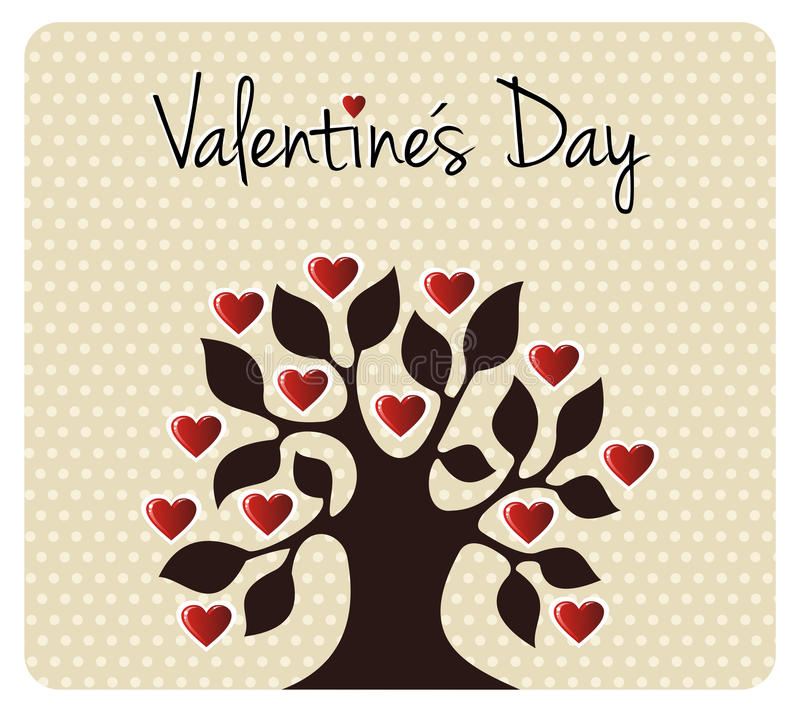 Fall in love Valentines day tree royalty free illustration