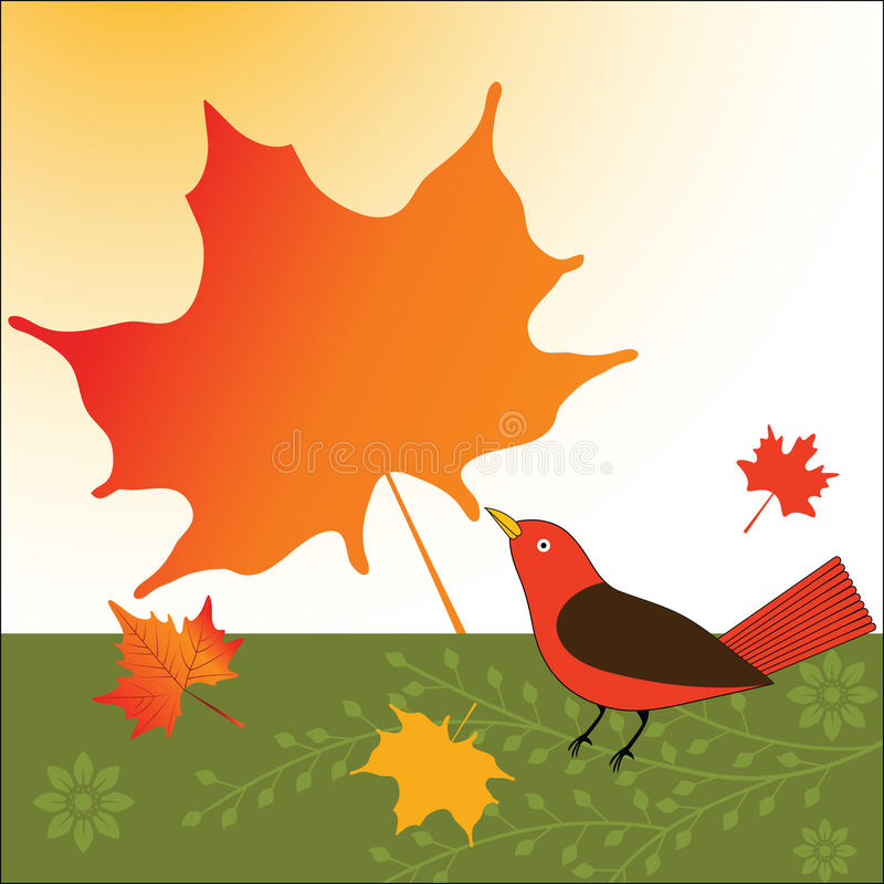 Fall maple leaf with Bird. Fall season maple leaves with Bird and flower petals stock illustration