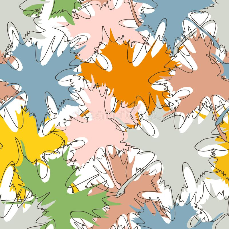 Fall maple leaf pattern in bright colors. Over white background stock illustration