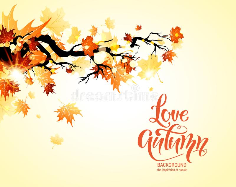 Fall maple leaves banner. Autumn yellow nature background with place for text. Fall maple leaves banner royalty free illustration