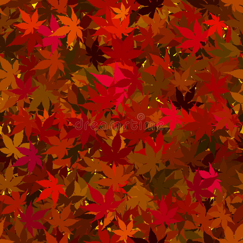 Fall Maple Leaves Seamless Background. Colorful Fall Maples Leaves Seamless Tile Pattern Background Illustration vector illustration