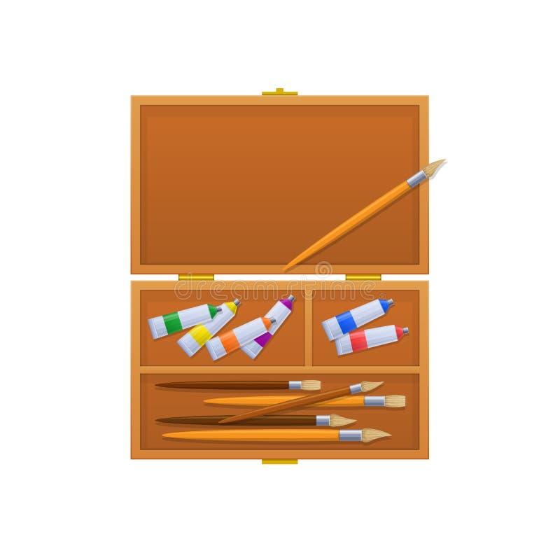 Fall med borstar, mång--färgade rör med målarfärg och markörer stock illustrationer