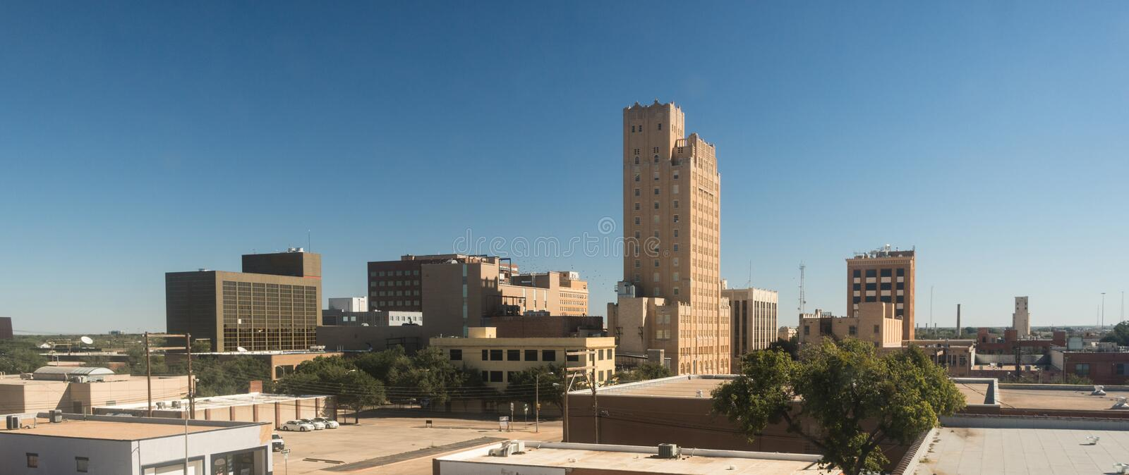 Fall-Nachmittags-blauer Himmel Lubbock Texas Downtown City Skyline stockfotografie