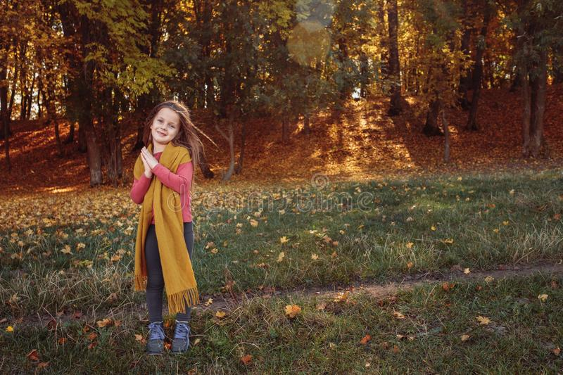Fall nature park happy young girl autumn forest royalty free stock photos