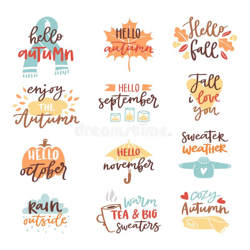 Fall nature season vintage hand drawn lettering stickers with text autumn and floral elements phrases vector royalty free illustration