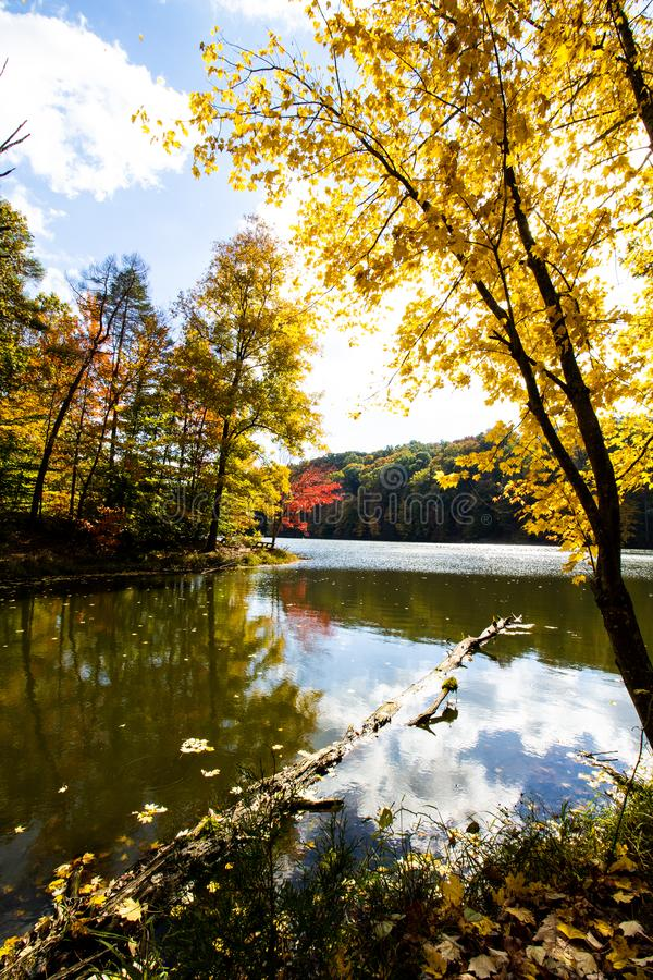 Fall on Ogle Lake, Brown County State Park, Indiana stock image