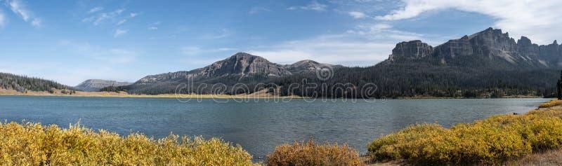 Panoramic View of Brooks Lake, Wyoming stock photos