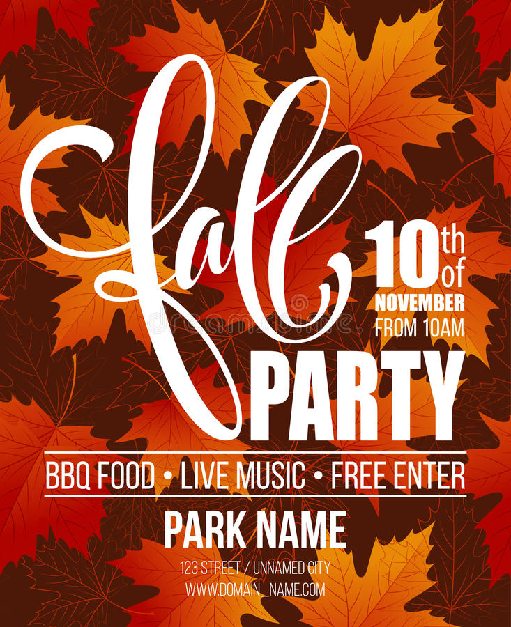 Fall Party. Template for Autumn poster, banner, flyer. Vector illustration. Vector illustration vector illustration