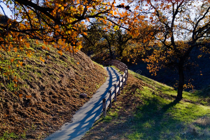 Fall pathway with wooden fence royalty free stock photos