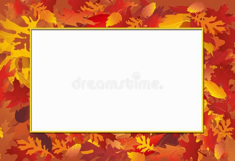 Fall Photo Frame. Fall leaf background with bordered white space for photo cut-out or message vector illustration