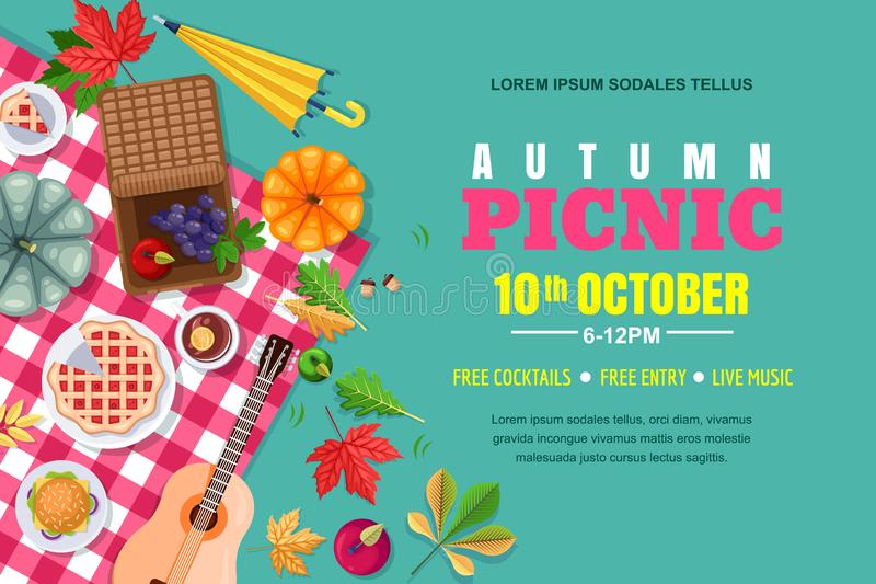 Fall picnic horizontal background. Autumn Thanksgiving holiday vector poster, banner template. Outdoors weekend in park, flat illustration stock illustration