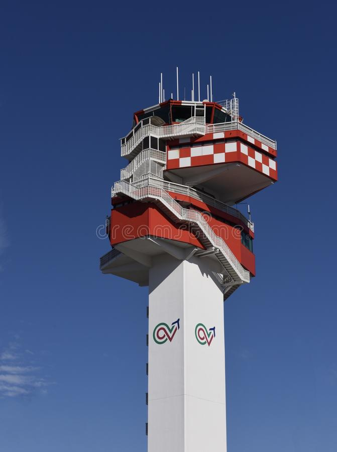 Airport Control Tower. This is a Fall picture of the control tower at the Leo ardor Da Vinci Airport in Rome, Italy. This picture was taken on October 26, 2017 royalty free stock photo