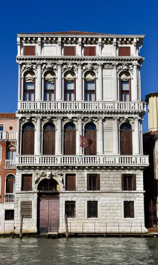 Italianate Architecture on the Grand Canal. This is a Fall picture of a distinctive example of 19th Century Italianate architecture located on the Grand Canal in stock images