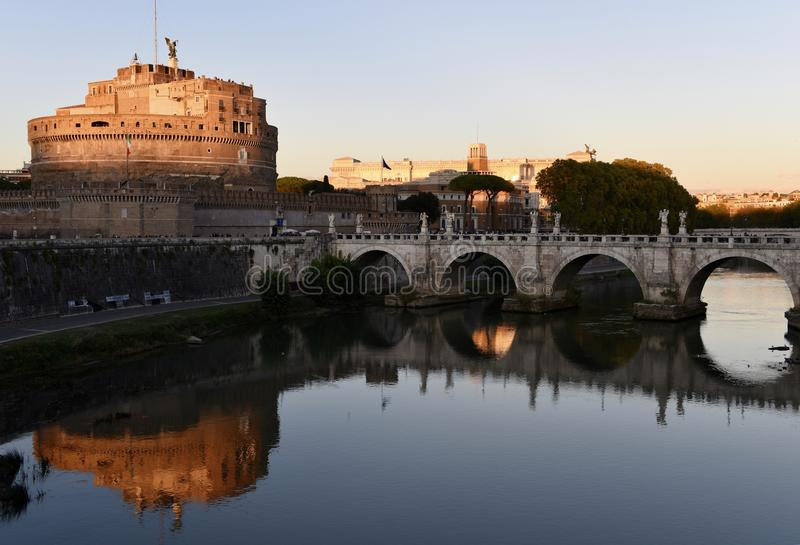 Reflection on the Tiber River royalty free stock photo