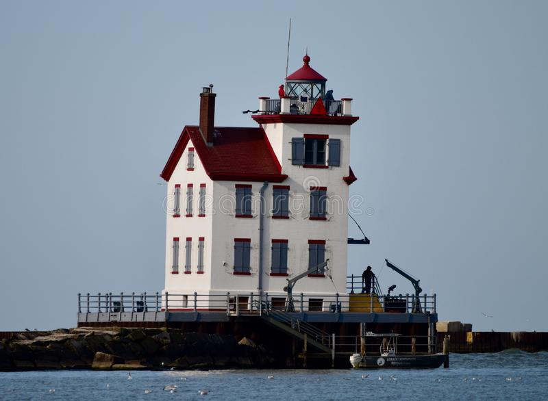 Lorain Lighthouse. This is a Fall picture of he historic Lorain Lighthouse on Lake Erie located in zlorain, Ohio in zlorain County. This lighthouse was built in stock image