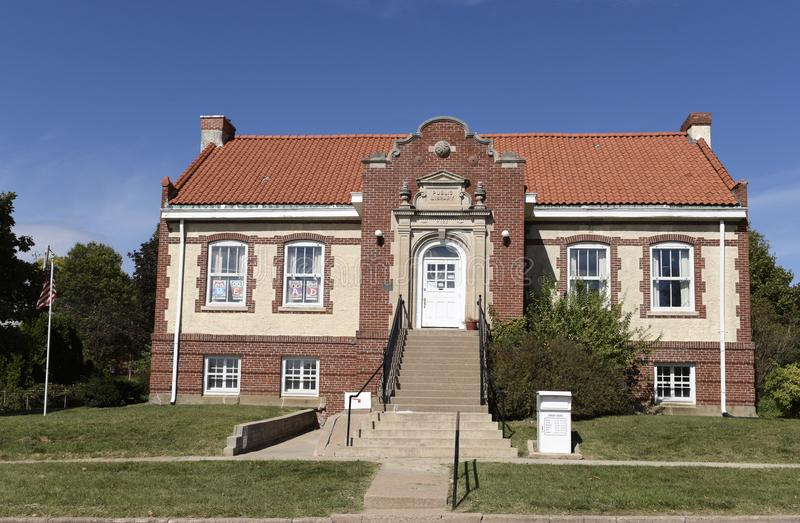 Public Library. This is a Fall picture of the Public Library located in Bedford, Iowa in Taylor County. This Library was designed by the architects of Wetherell stock images