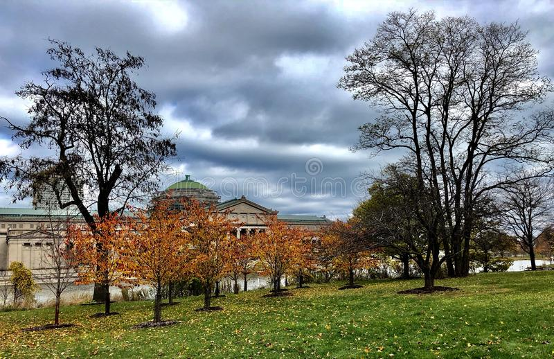 Museum Through Fall Foliage. This is a Fall picture of the South side of the historic Chicago Museum of Science and Industry in Jackson Park as seen through the royalty free stock photos
