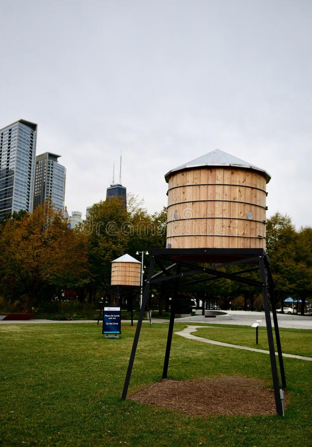 A Faux Water Tower. This is a Fall picture of two of three faux Water tower used in a piece of public art exhibit titled: This Land Is Your Land, on exhibit at stock image