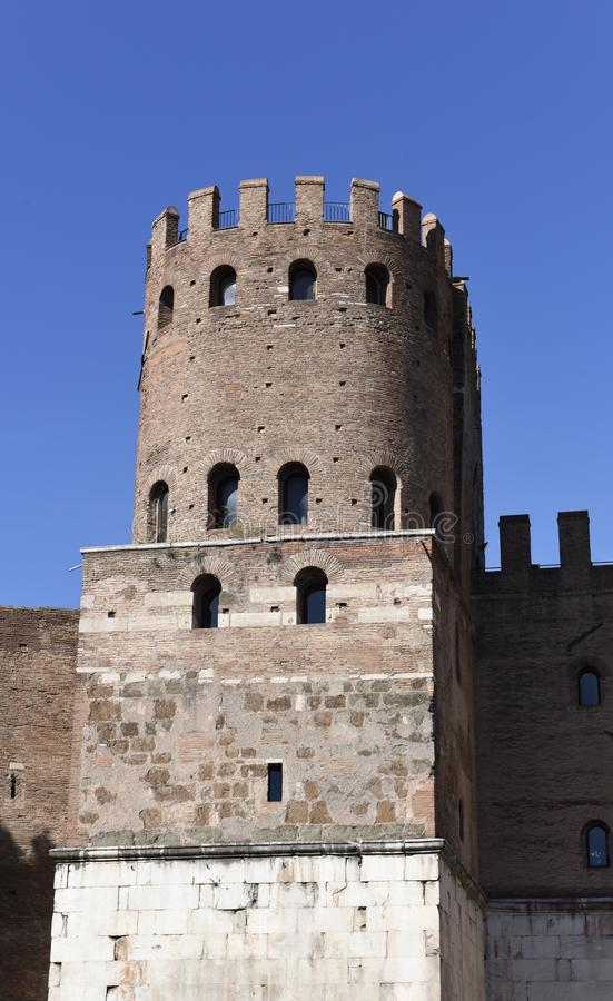 Tower of Porta San Sebastiano. This is a Fall picture of the West tower of the Porta San Sebastiano,the best preserved Gates passing through the Aurelian Walls stock image