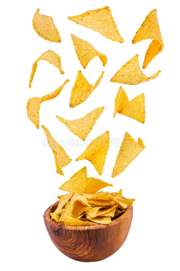 Flying potato chips isolated on white background royalty free stock image