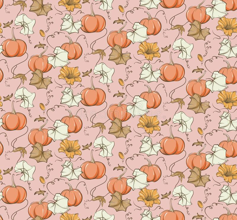 Free Fall Pumpkin Seamless Pattern. Fairy Tale Nursery Repeat Background, Wild Flower Autumn Bloom Illustration.  Kids Baby Girl Royalty Free Stock Images - 193887839