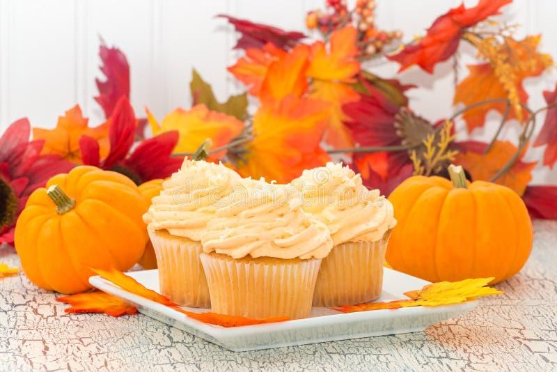 Fall Pumpkin Spice Cupcakes stock photography