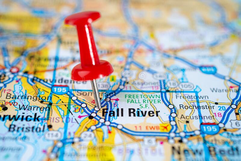 Fall River, Massachusetts, Bristol road map with red pushpin, city in the United States of America. USA stock photos