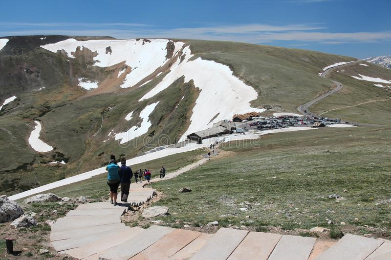 Fall River Pass. ROCKY MOUNTAINS, USA - JUNE 19, 2013: Tourists visit Fall River Pass in Rocky Mountain National Park, Colorado. RNMP has 3,176,941 annual stock images